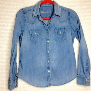 GAP Chambray Button Down Western Denim Shirt
